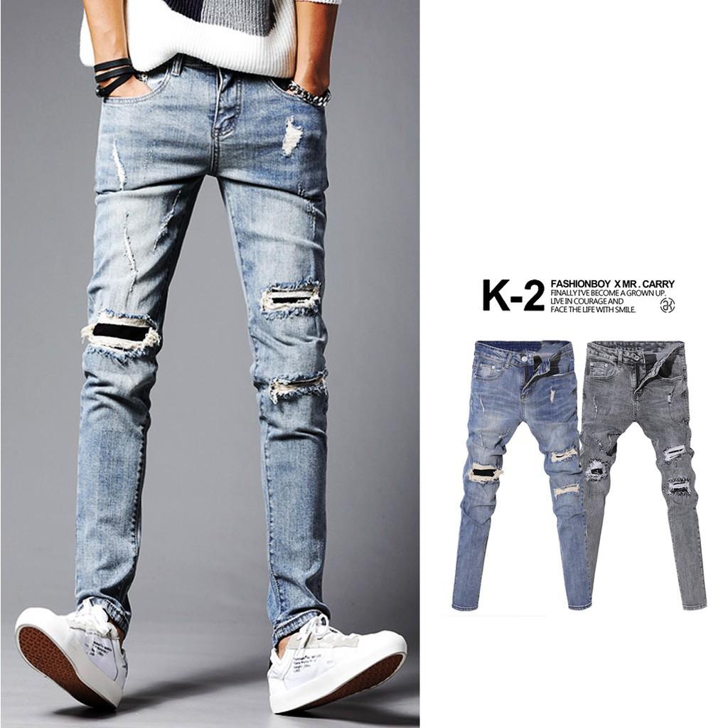 K-2 三破壞 補丁 彈性 窄管 假兩件 牛仔褲 水洗 秋冬新款 男女不拘 K131 廠商直送 現貨