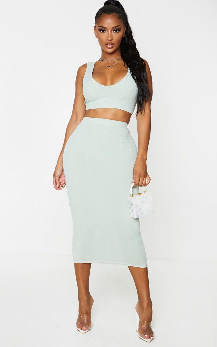 Shape Sage Khaki Bandage High Waist Midi Skirt