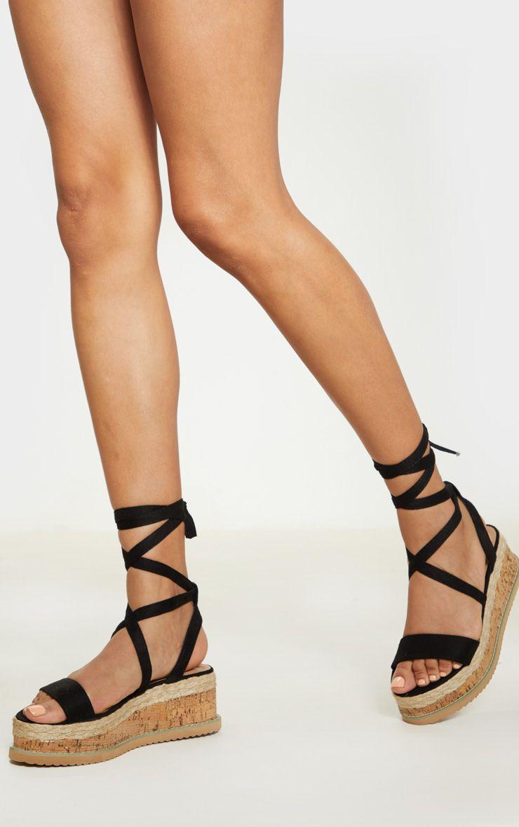 Niella Black Espadrille Flatform Sandals