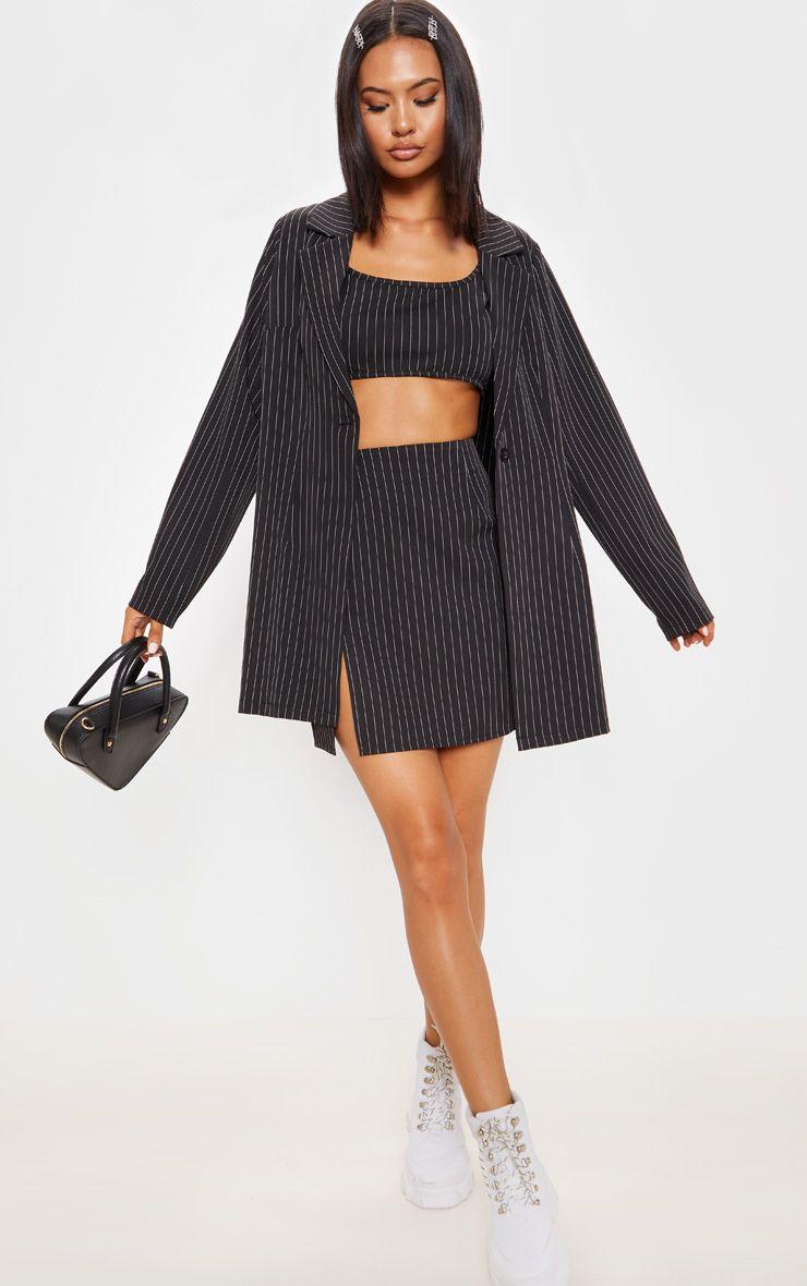Black Pinstripe Oversized Woven Blazer