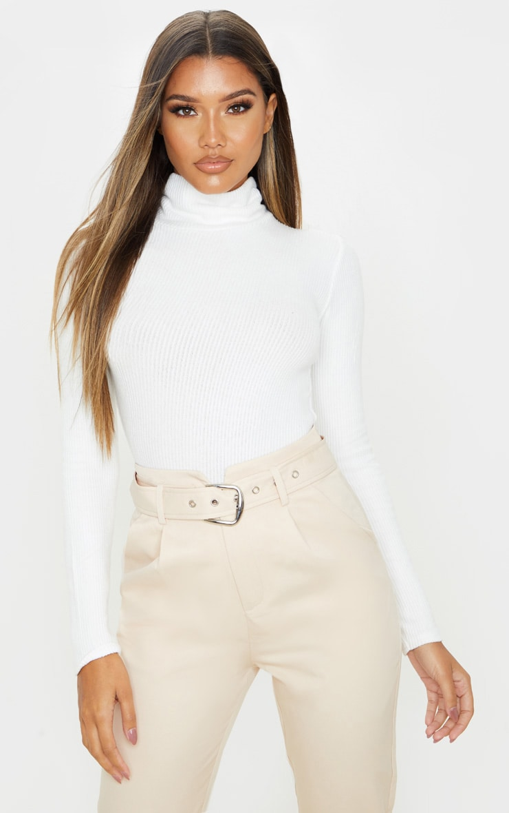 White Brushed Rib Roll Neck Long Sleeve Bodysuit