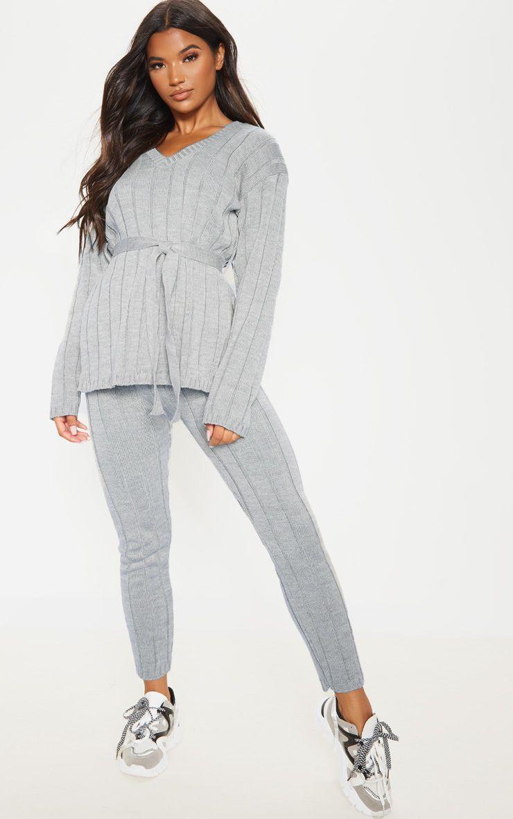 Grey Belted Longline Jumper And Legging Lounge Set