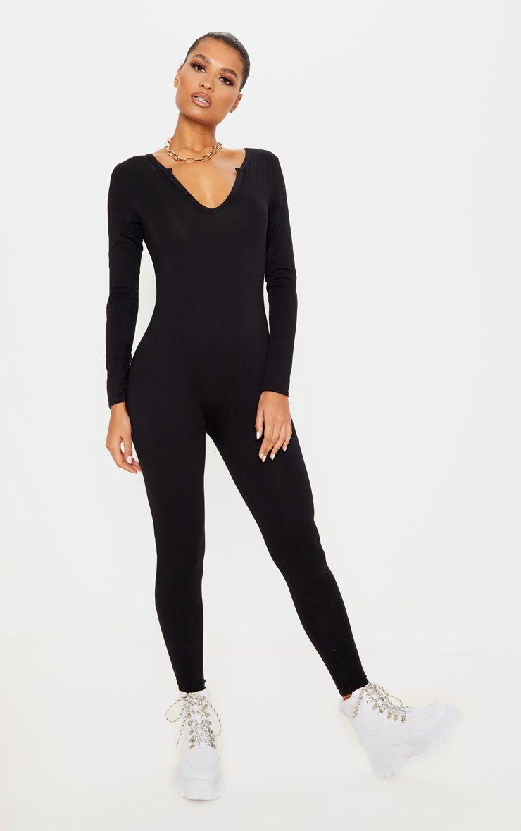 Black Seamless Cotton Elastane V Neck Jumpsuit
