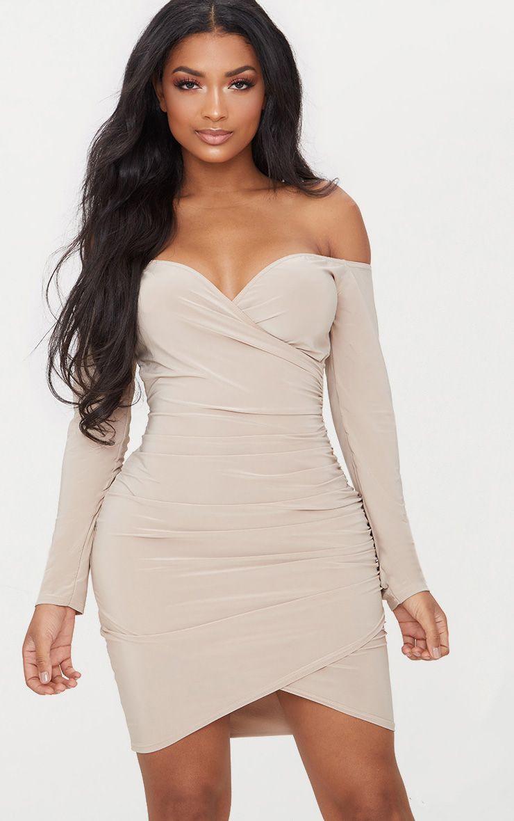Stone Shape Slinky Ruched Detail Bardot Dress