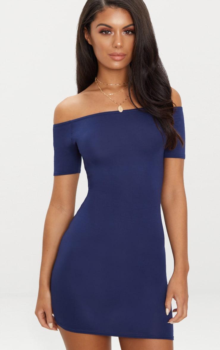 Basic Navy Short Sleeve Bardot Bodycon Dress