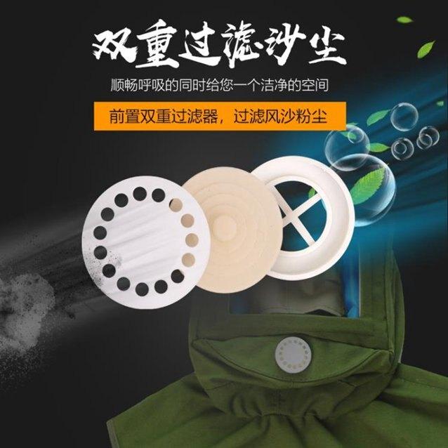 防霧防塵面具防工業粉塵披肩噴砂帽打磨噴漆全面罩防護面罩防灰塵 秋冬新品特惠