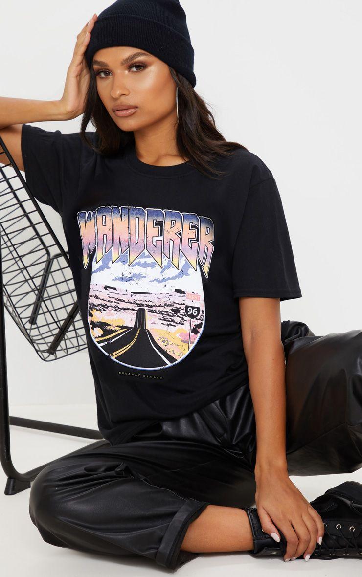 Black Wanderer Oversized T Shirt