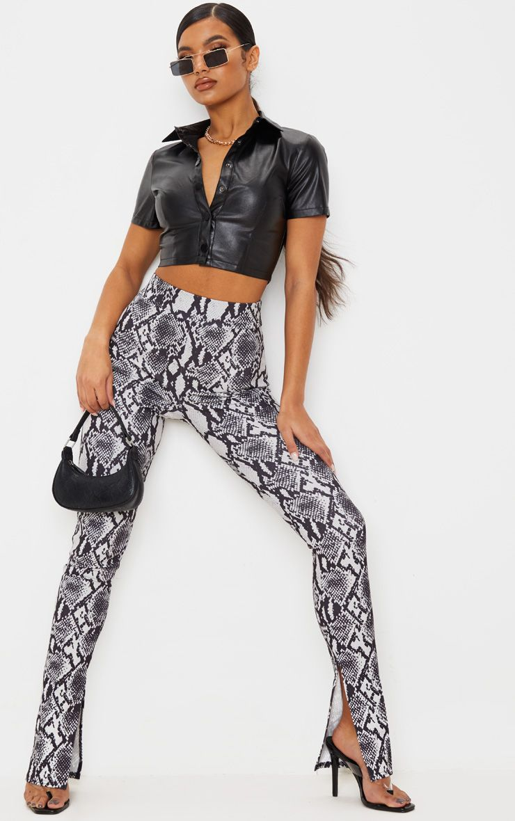 Grey Snake Split Hem Skinny Pants