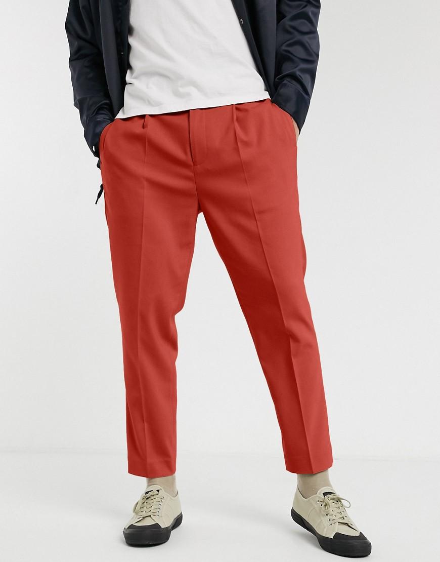 ASOS DESIGN smart tapered trousers in rust-Tan