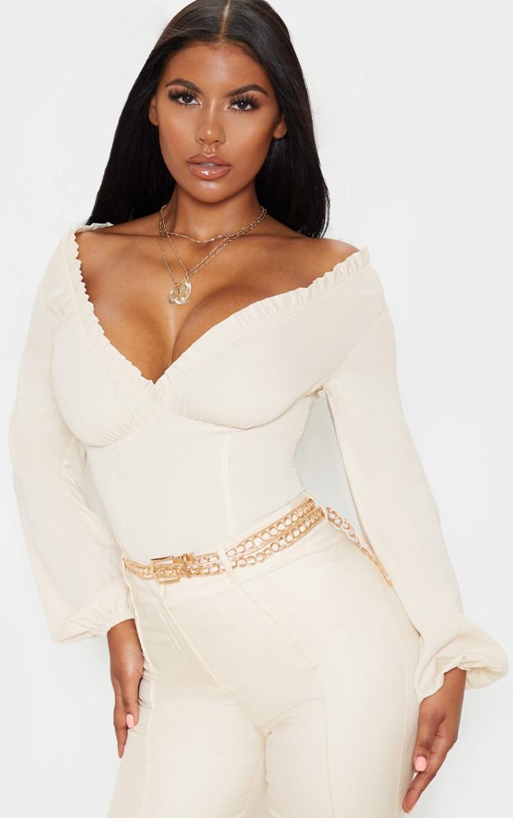 Cream Milkmaid Frill Cup Bodysuit