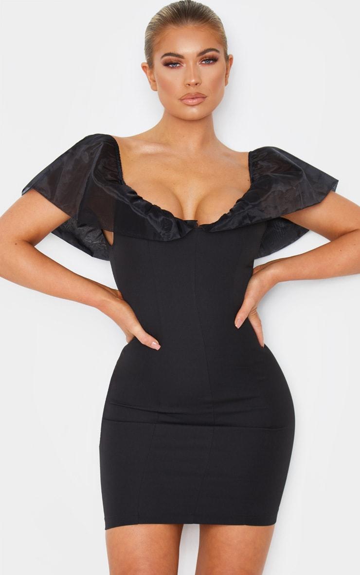 Black Chiffon Shoulder Detail Bodycon Dress