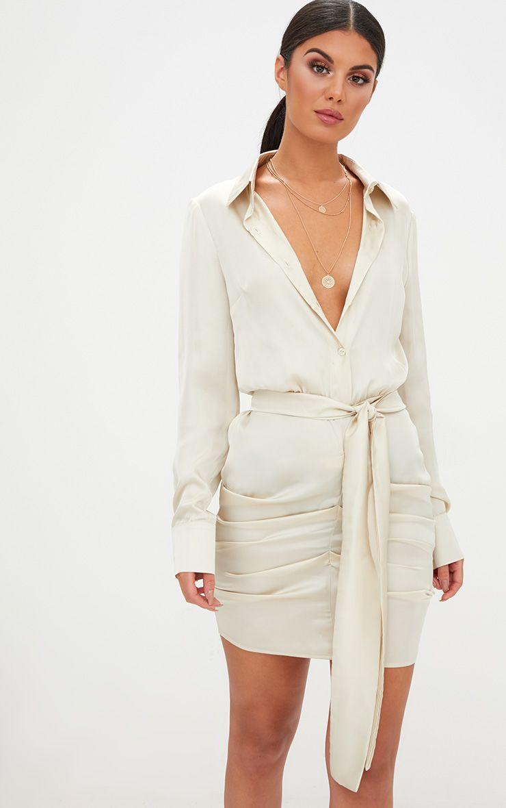 Champagne Satin Ruched Shirt Dress