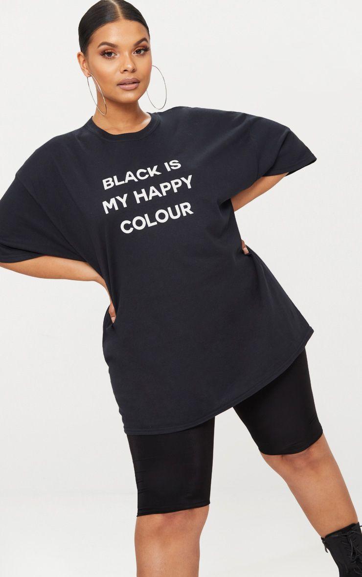Plus Black Is My Happy Colour Slogan T Shirt