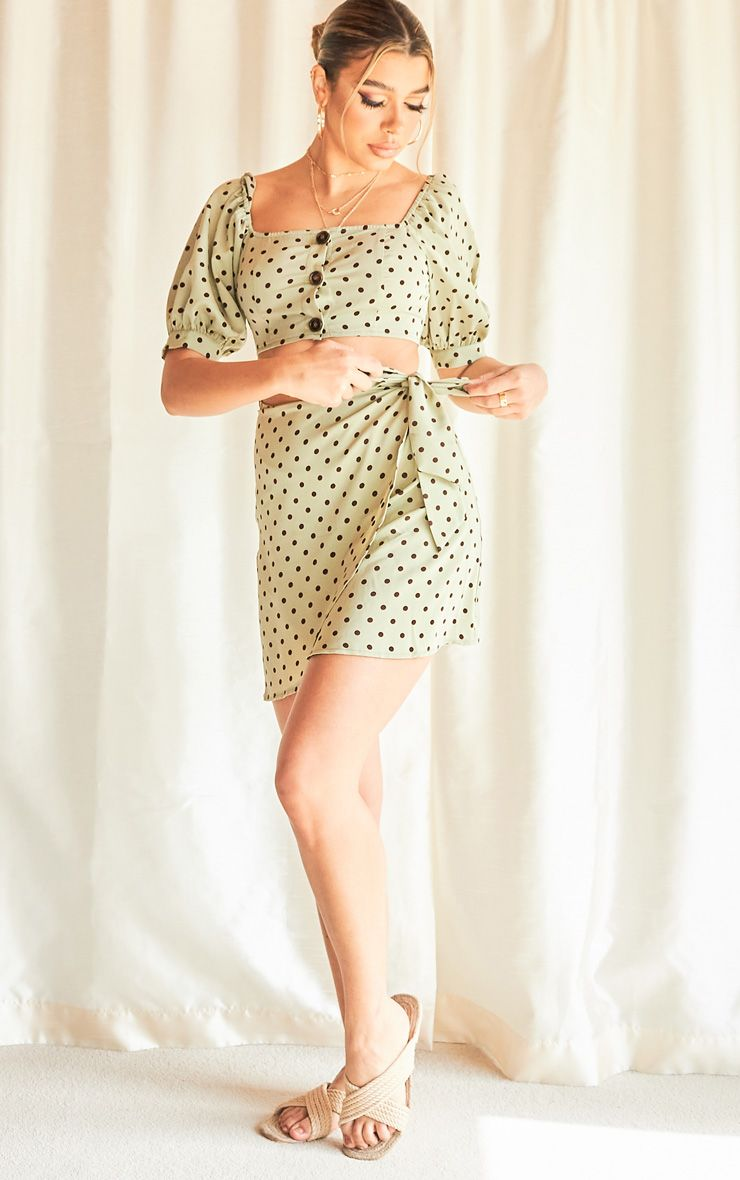 Sage Green Polka Print Wrap Detail Mini Skirt
