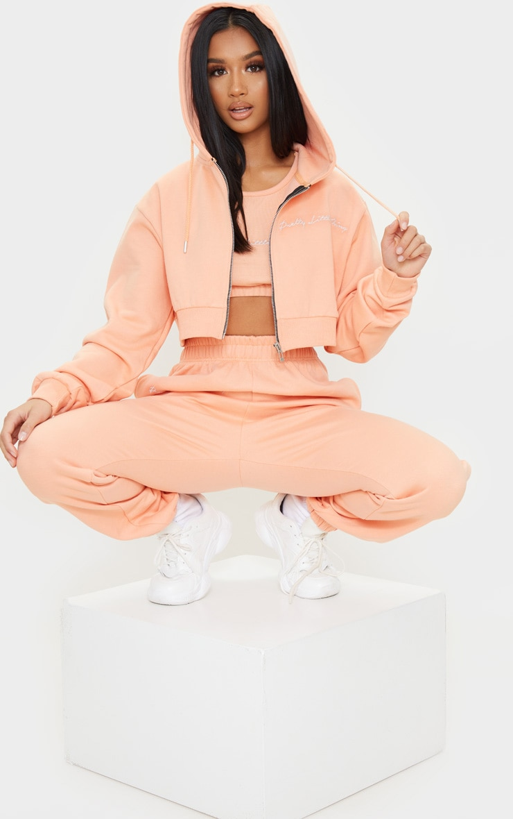 PRETTYLITTLETHING Petite Peach Cropped Embroidered Zip Hoodie