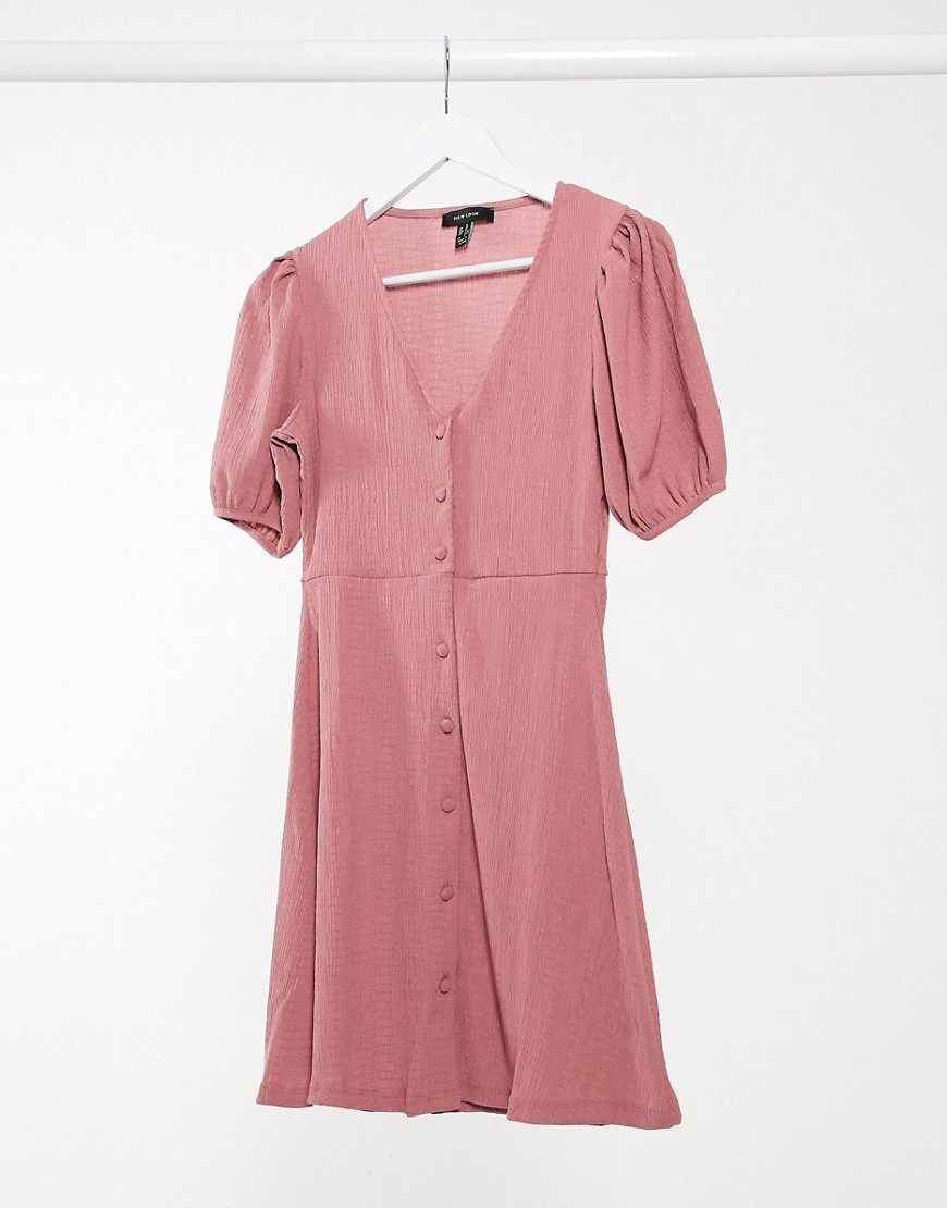 New Look button front mini dress in pink