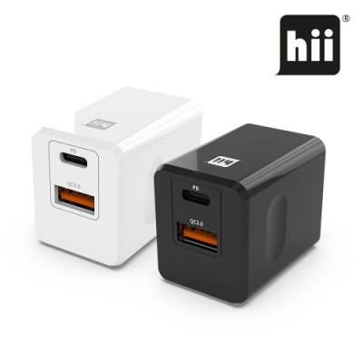 Hii PD+QC3.0 18W 雙孔急速充電器