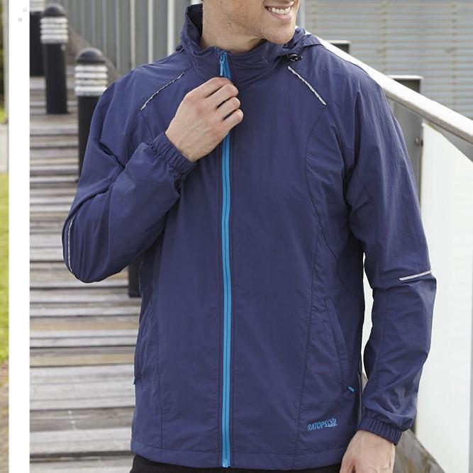 【RATOPS瑞多仕】男透氣輕薄抗UV連帽外套(反光條) DH2090墨藍色/20丹微皺布料/吸濕排汗快乾/野雁戶外