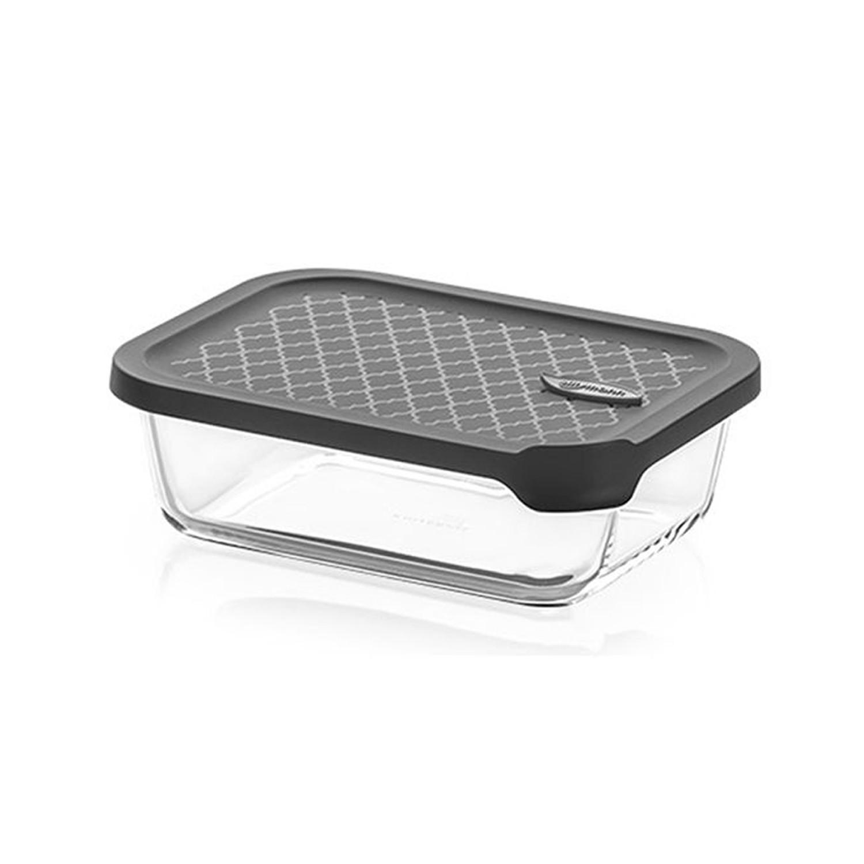 韓國 sillymann - 100%鉑金矽膠微波烤箱輕量玻璃保鮮盒(長方型1000ml)-灰
