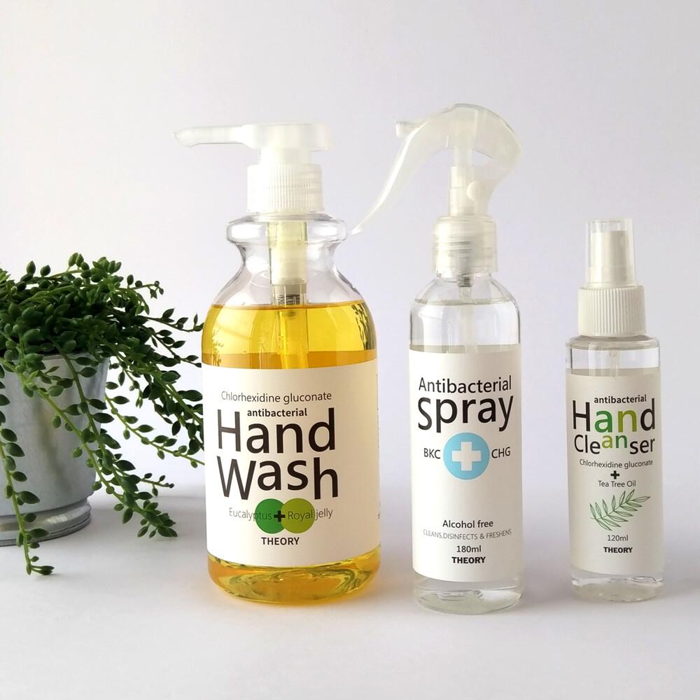 theory清潔理論抗菌系列組洗手乳+茶樹乾洗手+無酒精抗菌噴霧