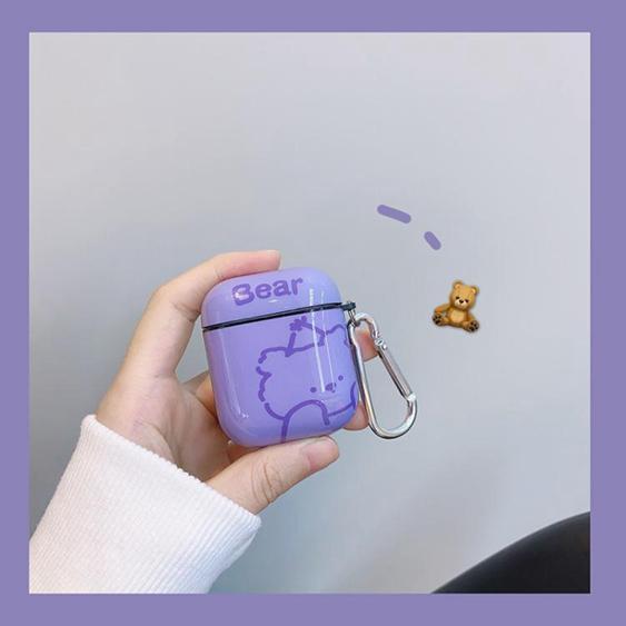 【免運】原創紫色小熊耳機套適用AirPods保護套1/2/Pro蘋果個性創意女軟潮  喜迎新春 全館8.5折起