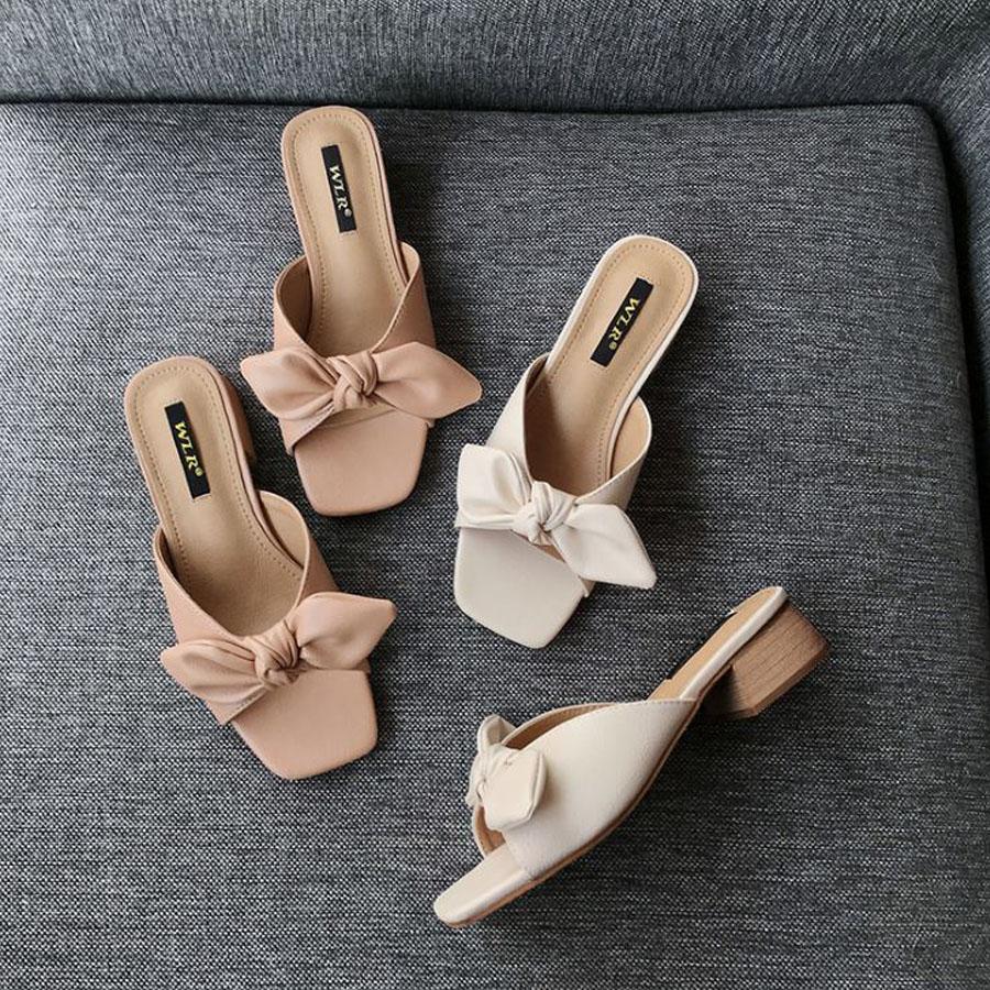 素雅蝴蝶結低跟拖鞋.有大碼.2色