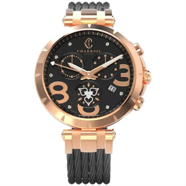 CHARRIOL 夏利豪 (C36P55006) CELTICA HEART 玫瑰金經典鋼索腕錶/黑面 37mm
