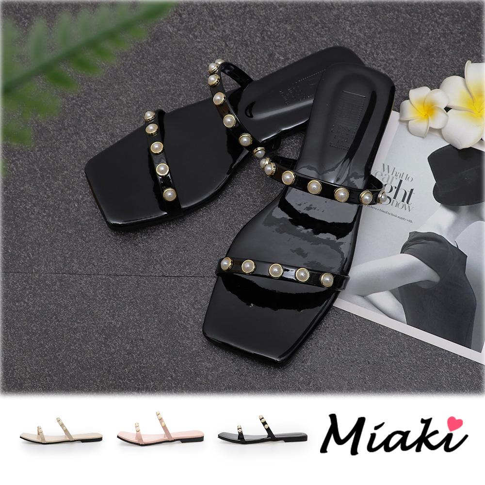 【Miaki】拖鞋-方頭珍珠一字細帶涼拖(台灣製) (現貨+預購)