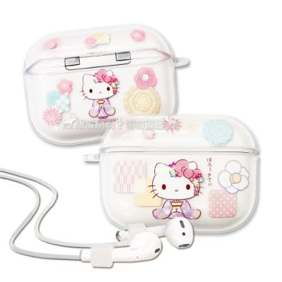 正版授權 Hello Kitty凱蒂貓 AirPods Pro TPU透明彩繪耳機盒保護套(和服)