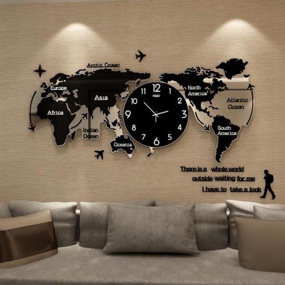 世界地圖鐘表掛鐘客廳現代簡約大氣個性創意石英時鐘家用裝飾掛表