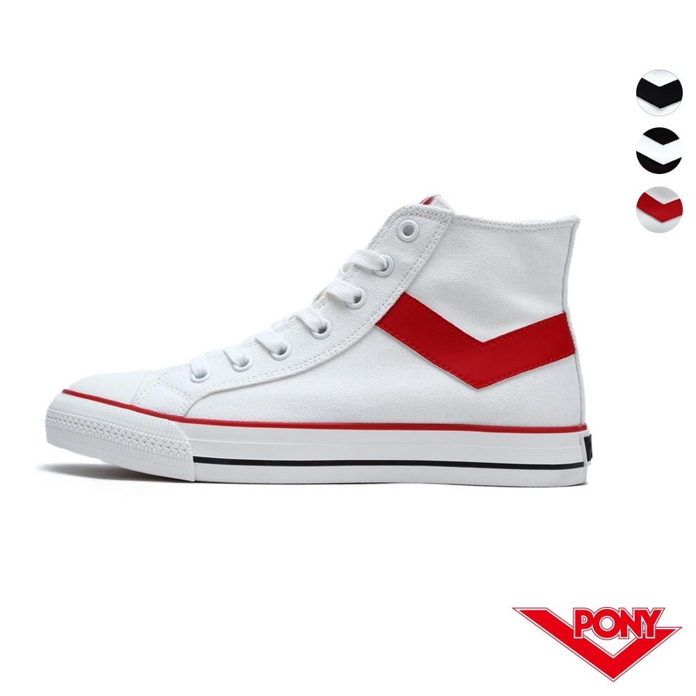 PONY Shooter系列高筒經典復古帆布鞋-女款 白黑/白紅/黑