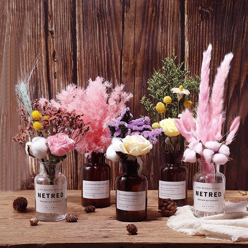 ins網紅滿天星天然干花花束真花 蘆葦家居擺設裝飾擺件棉花永生花