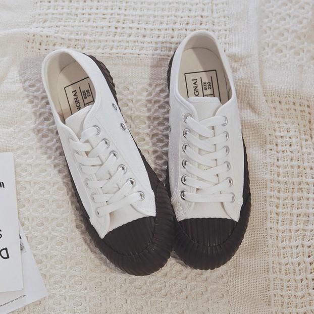 X-INGCHI 女款白色巧克力色底低筒帆布鞋-NO.X0128