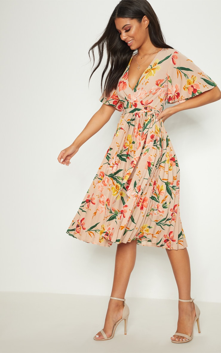Pink Floral Pleated Midi Dress