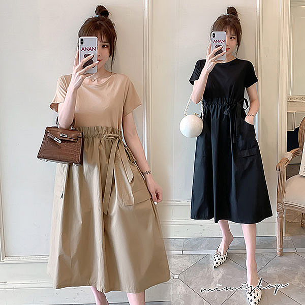 孕婦裝 MIMI別走【P521189】顯瘦有型 假兩件拼接抽繩連身裙 孕婦洋裝 長裙