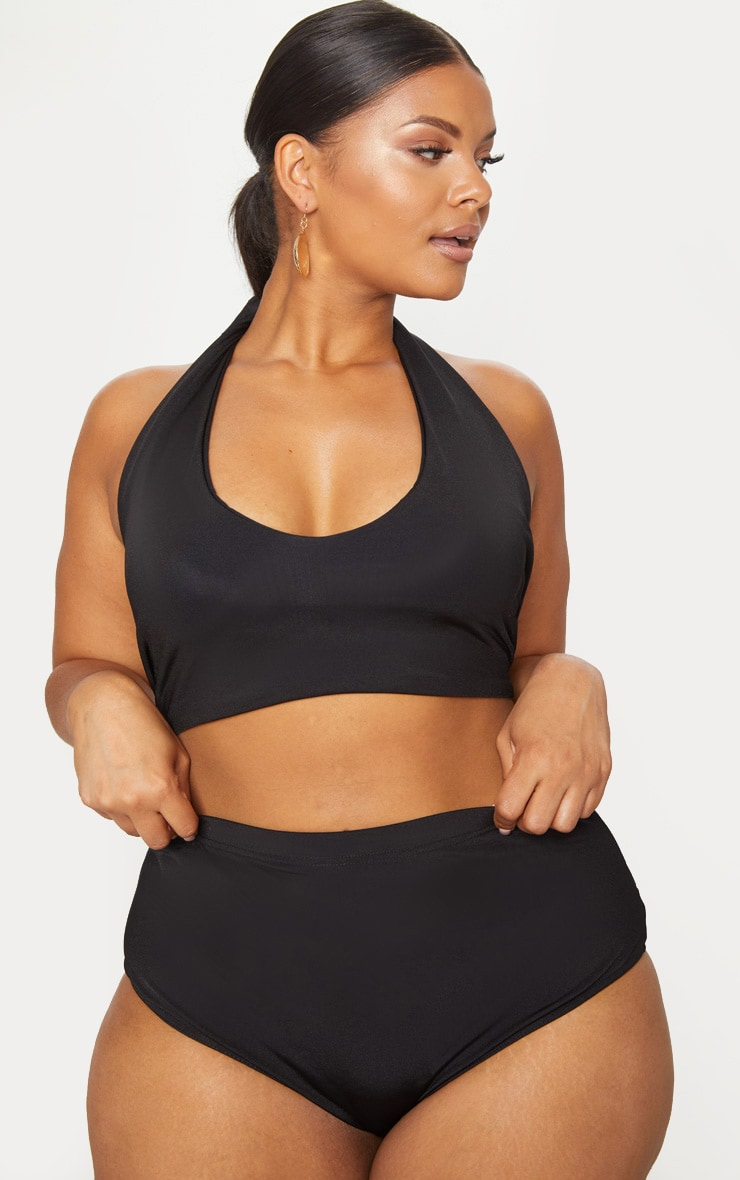 Plus Black Halterneck High Waist Bikini Set