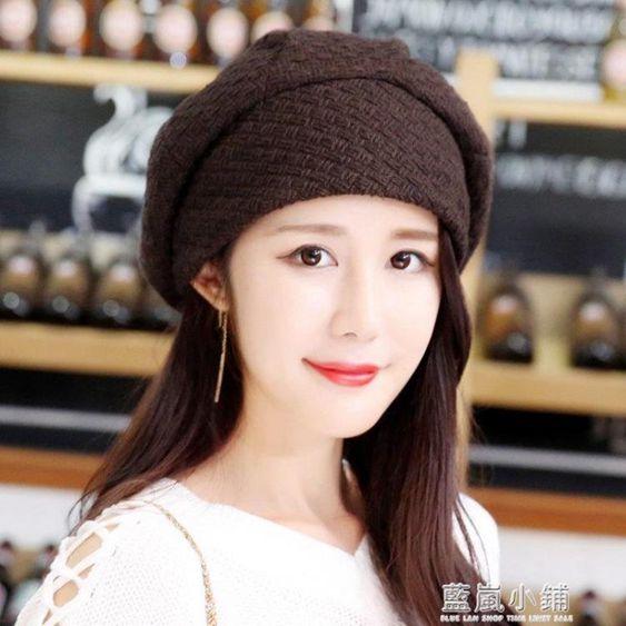 韓版復古英倫畫家蓓蕾帽加絨毛線貝雷帽百搭南瓜帽八角帽子女春