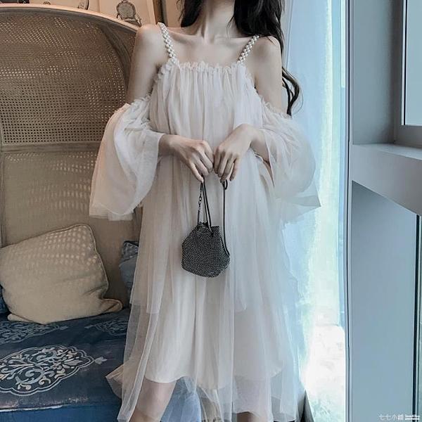 沙灘裙~夏季新款性感露肩一字領串珠吊帶連身裙女寬鬆垂感喇叭袖背心裙潮