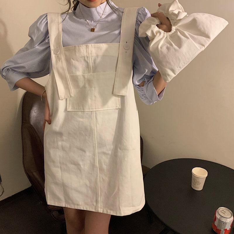 [免運]A字裙 158340青無敵可甜可鹹韓風簡約少女系減齡背帶裙
