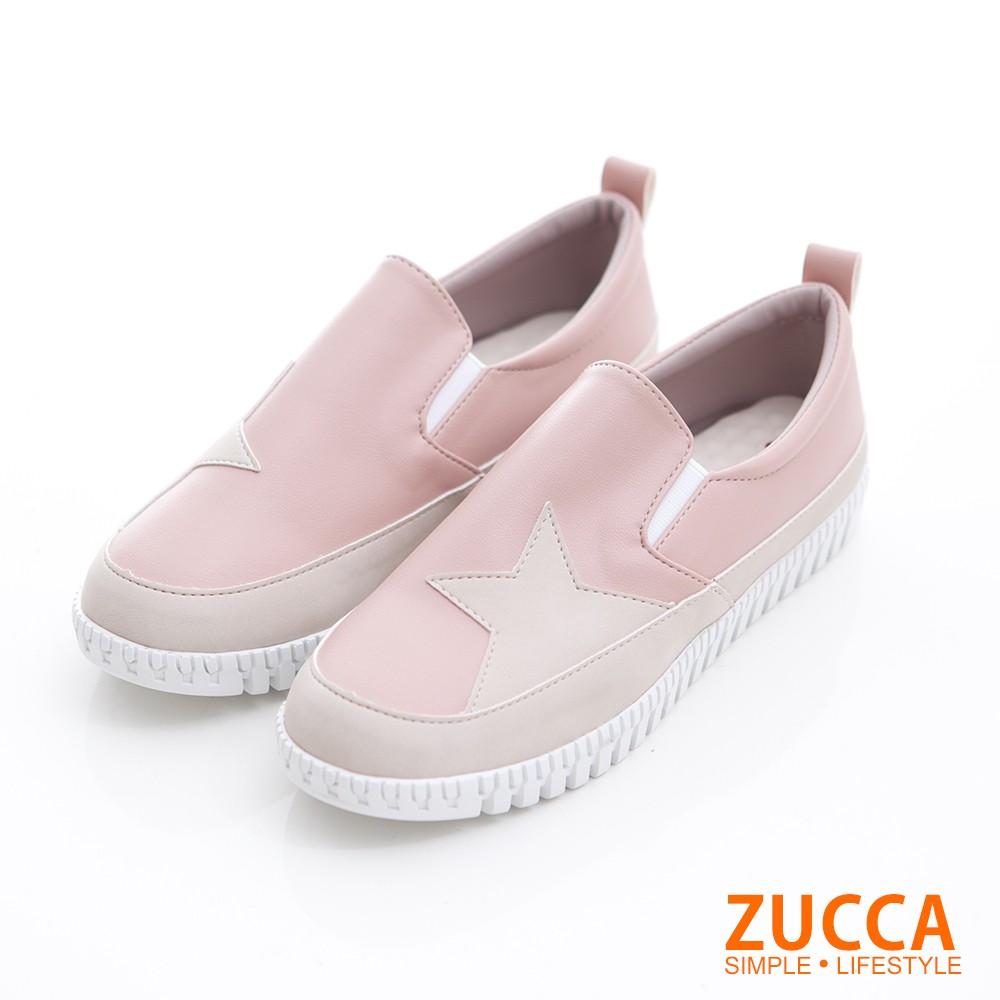 【ZUCCA】雙色拼貼星星平底鞋-z6820pk-粉