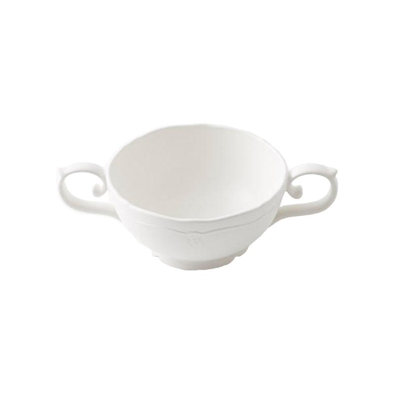 餐具三件組(雙把手湯碗/三食盤/高腳杯) 雙把手湯碗/三食盤/白色高腳杯