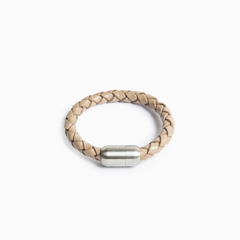 磁扣真皮編織手環 (小) - 共兩款 灰色