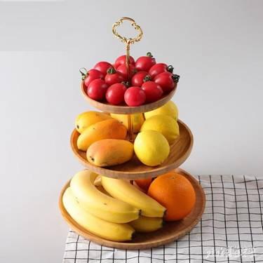 天竹三層水果盤客廳創意家用歐式簡約現代個性創意干果盤盆水果籃 qf25231萌寶時光