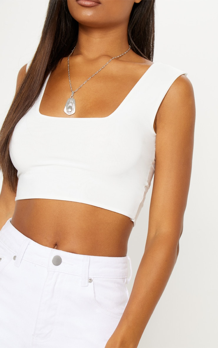 White Second Skin Slinky Square Neck Crop Top