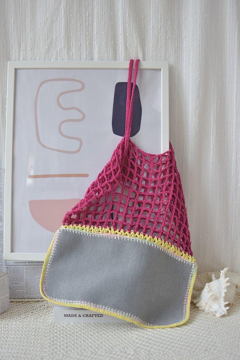 洋紅色灰色Gradie鉤針編織托特包