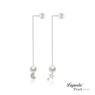 大東山珠寶 日本Akoya海水珍珠純銀晶鑽耳環雙珠耳線兩用款 永恆星月