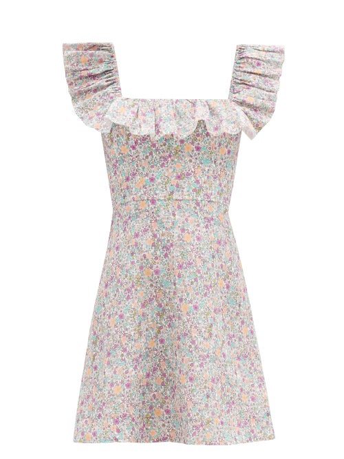 Zimmermann - Carnaby Ruffled Floral-print Cotton Mini Dress - Womens - White Print
