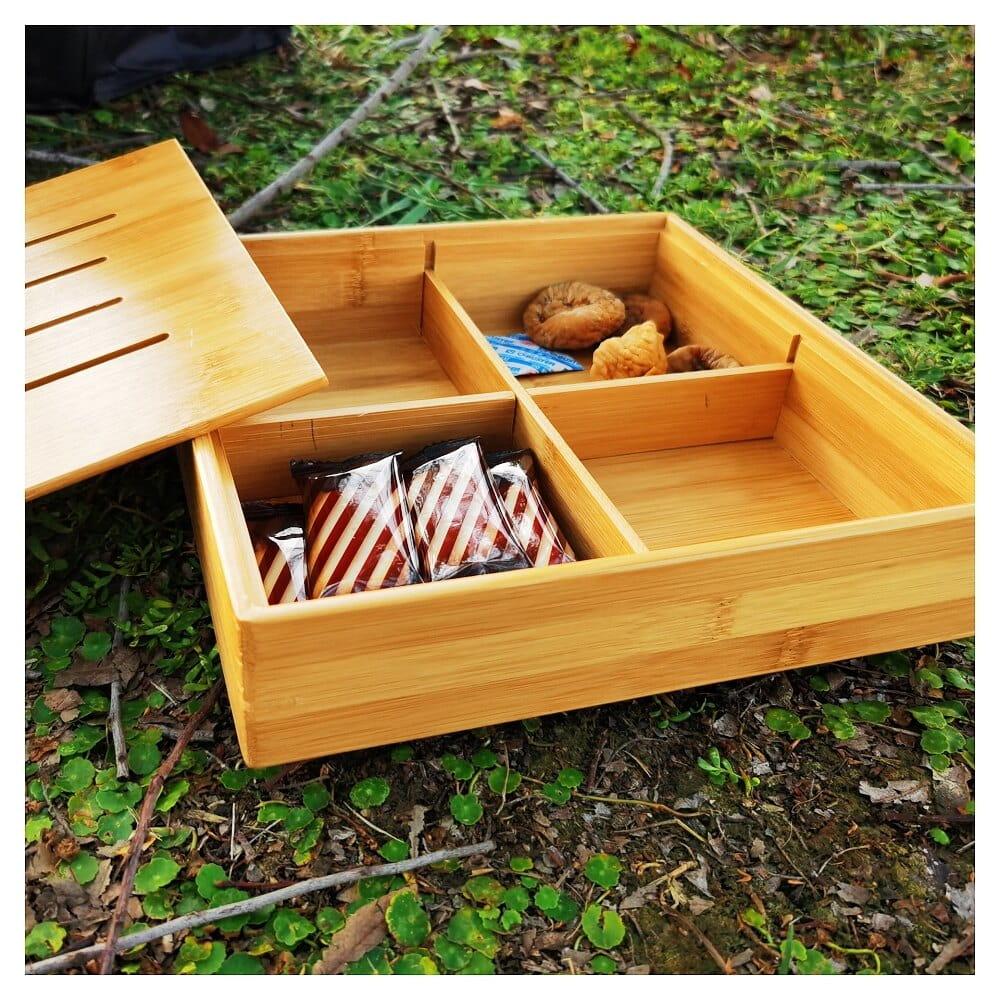 高一木一匠 創意竹木乾果盒茶水盤分格帶蓋果盤零食糖果盤