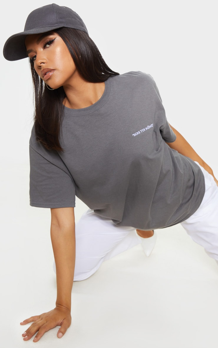 Charcoal Grey Be Yourself Embroidered Oversized T Shirt