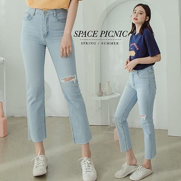 單寧 褲 Space Picnic|正韓-銀釦割破單寧牛仔八分直筒褲(現貨)【K20052001】